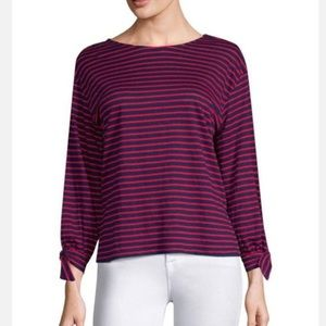 JOIE Delevan Striped Linen Long Sleeve Top